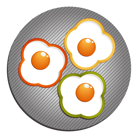 Fried eggs with yellow, red, green paprika.