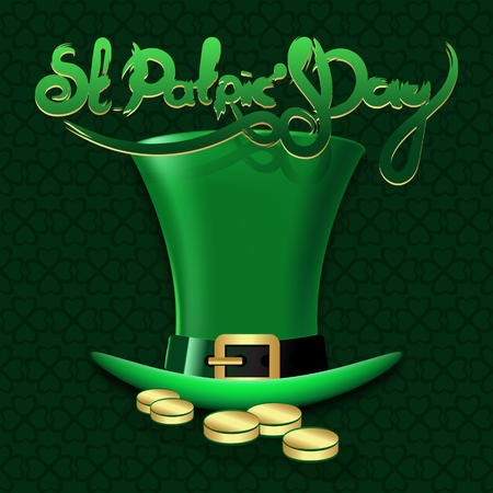 St. Patrick's Day green hat. Hand drawn lettering. Vector illustration.