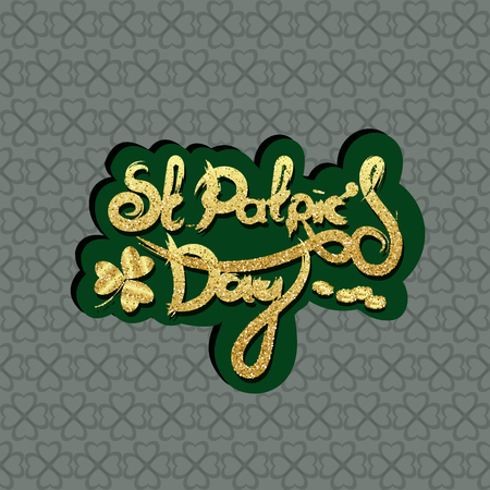 St Patrick's day lettering. Holiday sticker. Vector illustration.