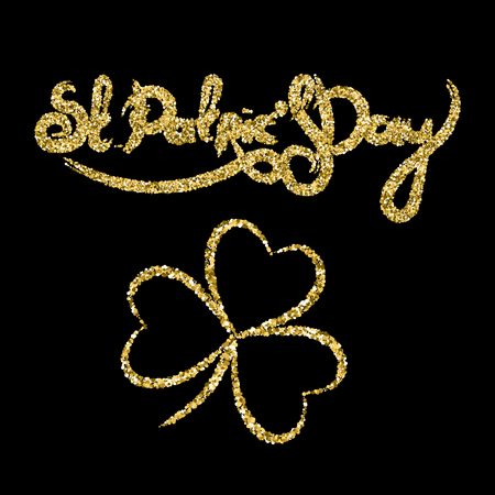 St Patrick's day golden lettering with clover. Vector illustration.
