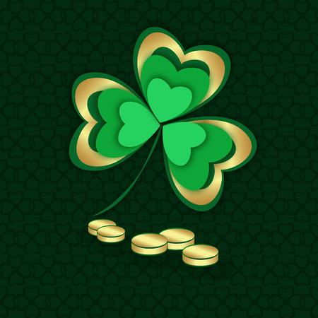 Gold and green shamrock and coins. St. Patrick's Day. Vector illustration. Vettoriali
