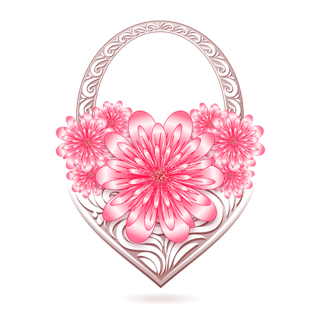 St. Valentine floral card with stylized basket. Vector illustration.