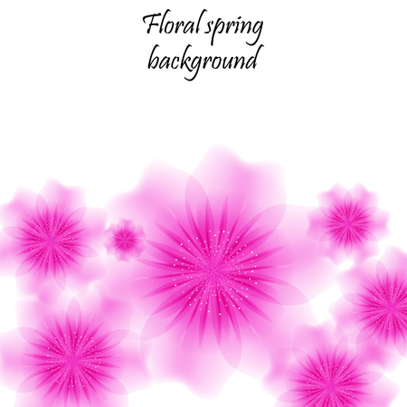 Pink spring background with translucent flowers. Jpg illustration