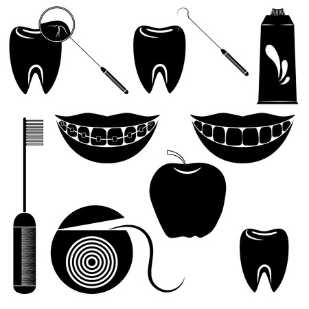 Dental care set isolated on the white background. Jpg illustration