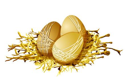 Golden eggs in the nest. Isolated on white. Vector illustration.