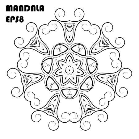 Flower Mandala Vintage decorative Oriental pattern in arabic, indian, moroccan, asian, turkish, mystic, ottoman motifs. Coloring book elements Vector illustration Eps 8 Vettoriali