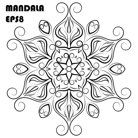 Flower Mandala. Vintage decorative elements. Oriental pattern, islam, arabic, indian, moroccan, asian, turkish, mystic, ottoman motifs. Coloring book element. Vector illustration. Eps 8
