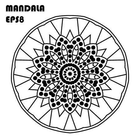 Flower mandala vintage decorative elements. Oriental pattern, Islam, Arabic, Indian, Moroccan, Asian, Turkish, mystic, ottoman motifs. Coloring book element vector illustration.