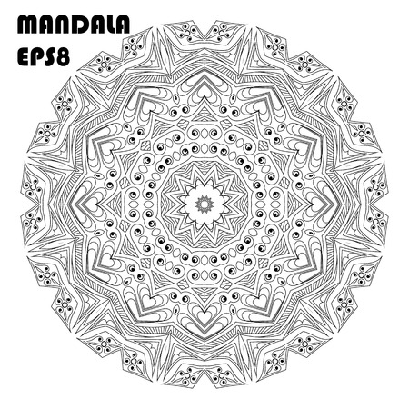 Flower Mandala. Oriental pattern, islam, arabic, indian, moroccan, asian, turkish, mystic, ottoman motifs. Coloring book element Vettoriali