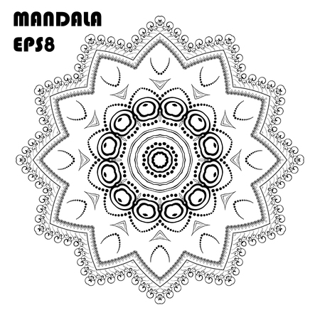 Flower Mandala. Coloring book element Vettoriali
