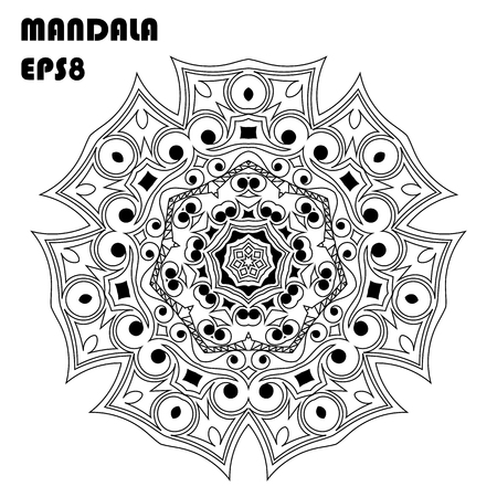 Flower Mandala, Vintage decorative elements in monochrome illustration.