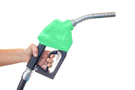green oil dispenser, green fuel nozzle hand holding isolated on white background.