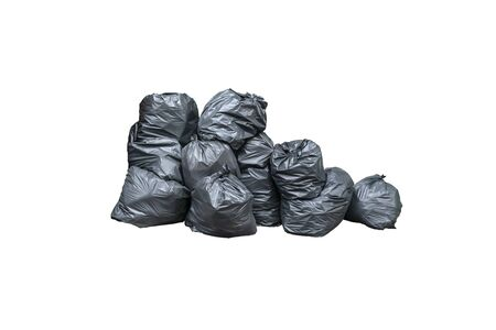 Pile of black garbage isolated on white background. Pile of garbage plastic black and trash bag waste many