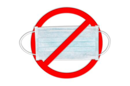 Ear-loop face mask 3 ply, Safety masks on white background. Do not use a mask. Stop using medical mask.