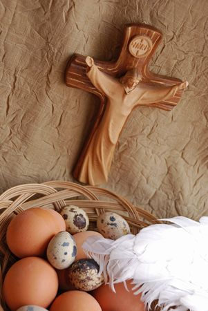 Easter eggs,wings and crucifixion close up Stock Photo - 2626745