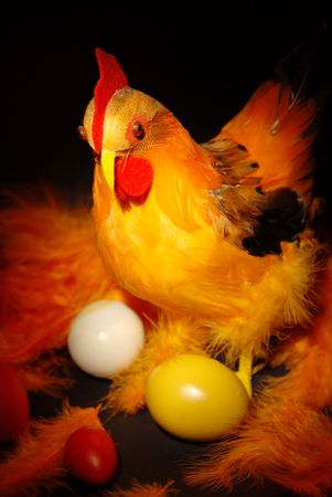 Hen and eggs in easter decorations. photo