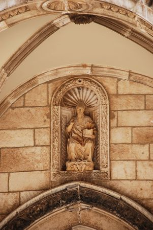 Sculpture of saint Vlaho in Dubrovnik photo