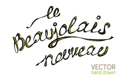 Beaujolais nouveau french text, New wine vector illustration. Illustration