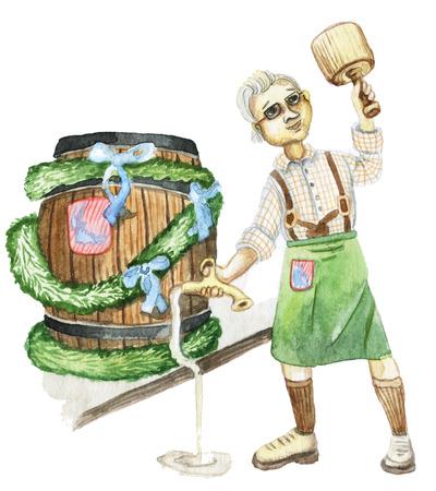 brewer with a keg, Oktoberfest Beer Festival, Watercolor Stok Fotoğraf