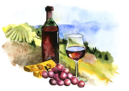 Landscape with vineyard, vintage pattern, Beaujolais Nouveau, watercolor