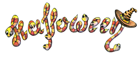 Helloween, the inscription of worms with hat, lettering, drawing hand