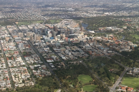 adelaide: aerial adelaide city Stock Photo