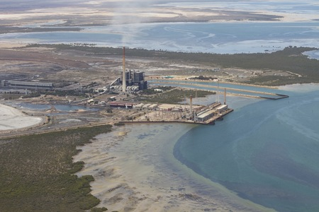 augusta: aerial view of a coal power station in south australia, near port Augusta