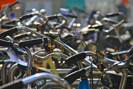 hundreds: hundreds of bikes lined up in amsterdam