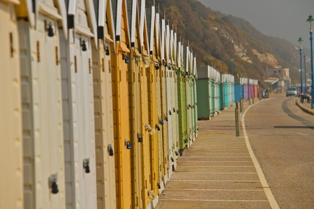 beach huts: colourful beach huts, south of england, Bournemouth Stock Photo