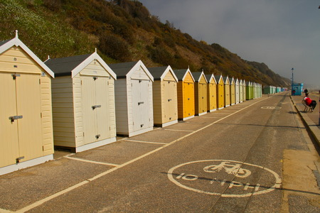 bournemouth: colourful beach huts, south of england, Bournemouth Stock Photo