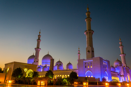 Sheikh Zayed Mosque at dusk Editorial