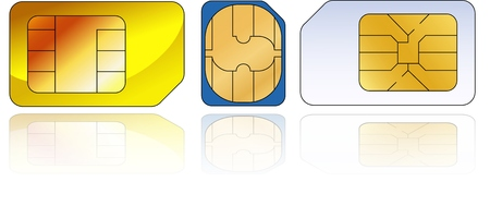 three sim-cards with reflection on a white background Vector