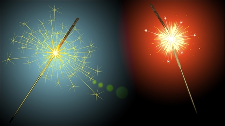other space: Different sparklers are opposite each other in space
