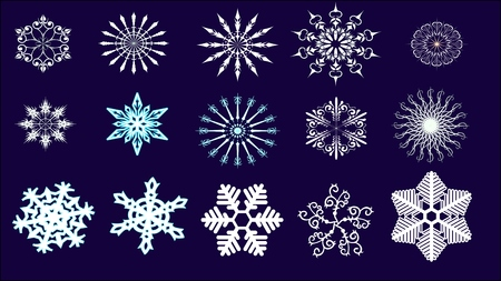 vector snowflakes on blue background Illustration