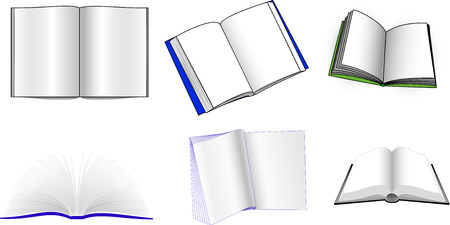 set of different books on a white background