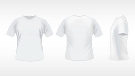 white T-shirt design template  front, back, side   Contains gradient mesh elements Vector