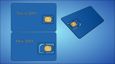 Sim card with carrier on a blue background Vector