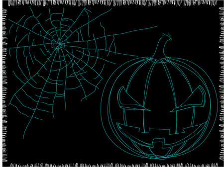 pumpkins silhouette with spider web on a dark background Vector