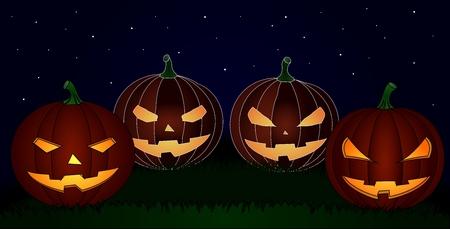 four smiling pumpkins against midnight sky Vector