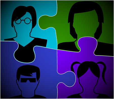 depicted: persons depicted on the elements of the puzzle