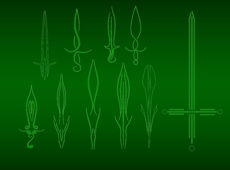 excalibur: set of different stylized swords from lines