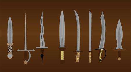 excalibur: set of different swords Illustration