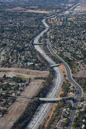 Aerial view of a serpentine on a freeway in Los Angeles County Stock Photo