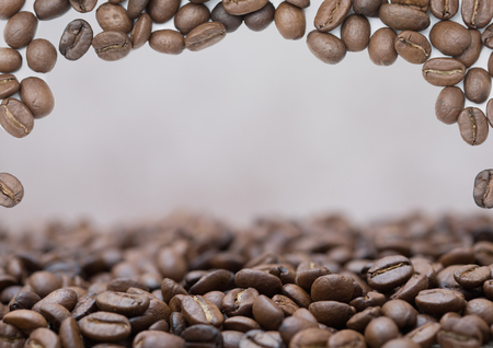Beautiful coffee beans background with lots of space for a message or logo