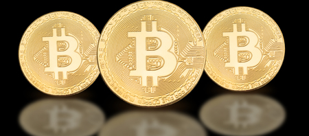 Cover photo for social media profile: a set of bitcoins on a solid background
