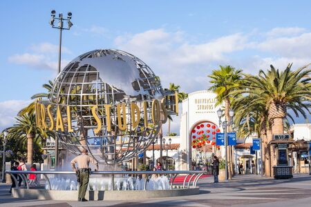 LOS ANGELES, USA - March, 2018: Universal Studios globe at the Entrance into the Universal Studios Hollywood Park, the first film studio and theme park of Universal Studios Theme Parks.