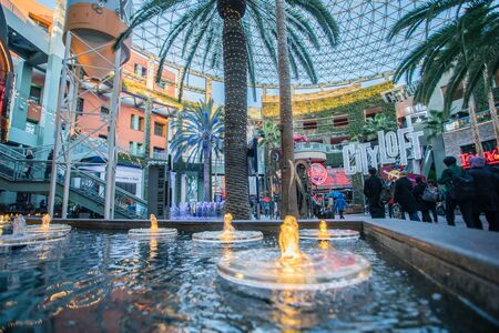 LOS ANGELES, USA - March 2018: Universal CityWalk are the entertainment and retail districts located adjacent to the theme parks of Universal Parks Resorts.