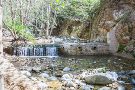 Eaton Canyon Natural Area is a 190-acre zoological, botanical, and geological nature preserve situated at the base of the beautiful San Gabriel Mountains Stock Photo