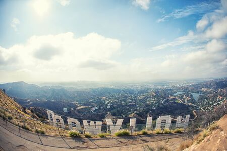 LOS ANGELES, USA, October 2017: Panorama of The Other Side of Hollywood Sign, Los Angeles, California