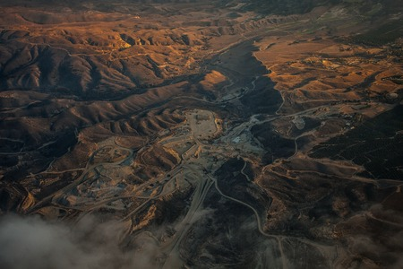 Aerial view of a beautiful mountain range at Southern California.